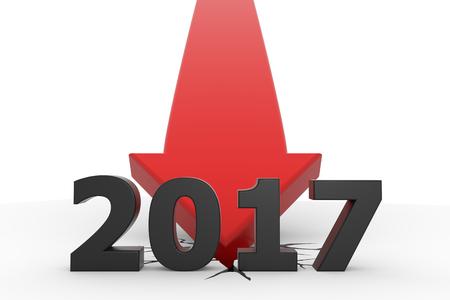 3D render illustration -  year 2017 red arrow crash Stok Fotoğraf