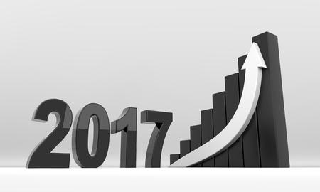 3d render illustration - year 2017 arrow growth