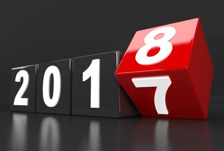 3d render illustration - year 2017 turns to 2018 Stok Fotoğraf