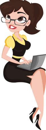 Lady Notebook. Mooie jonge vrouw in glazen met laptop. Vector Illustratie