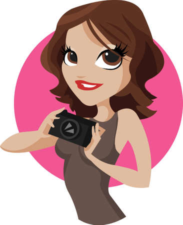 photograph: Lady Photo. Beautiful young woman photographer holding a camera