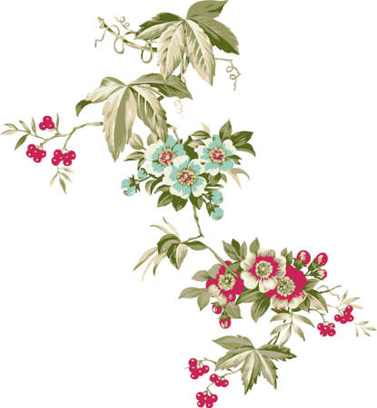 Floral background. Arrangement of flowers branch with berries of mountain ash.