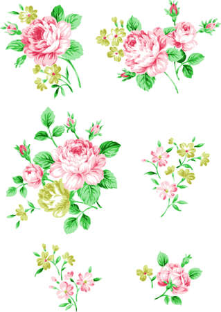Floral background. Set of branches of pink roses. Flower design elements.