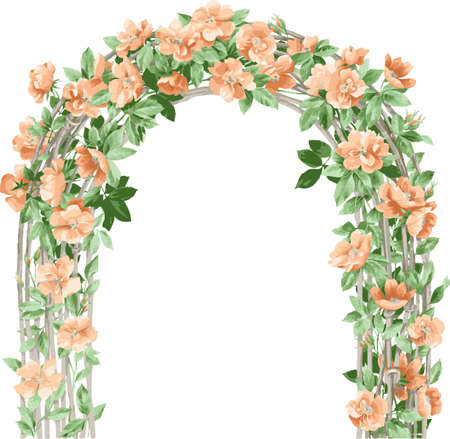 romantic picture: Floral background. Arch of flowers. Flower design elements.