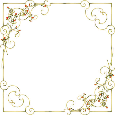 Golden floral frame. Element of design cards. Stock Vector - 10936493