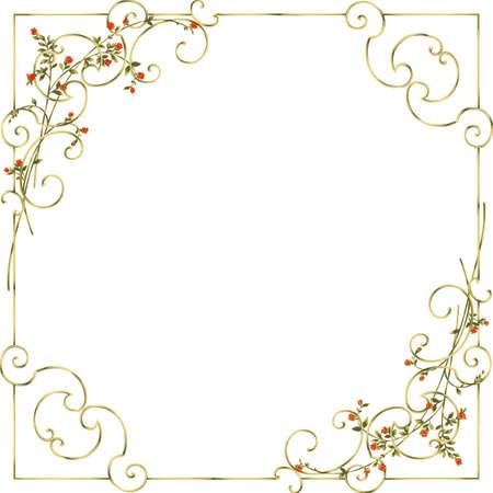 Golden floral frame. Element of design cards.  Illustration