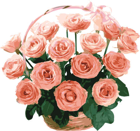 Basket of pink roses wedding. Design for postcards.