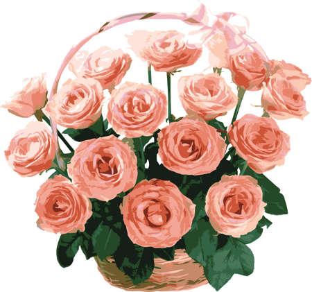 Basket of pink roses wedding. Design for postcards.