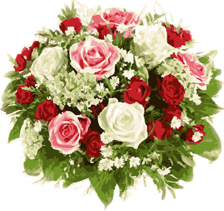 Bouquet of wedding flowers. Red and white roses.  Illustration