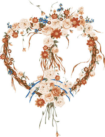 Background heart of flowers. Design for postcards.  Illustration