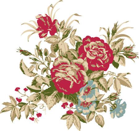 Background burgundy roses and blue violets. Design elements.