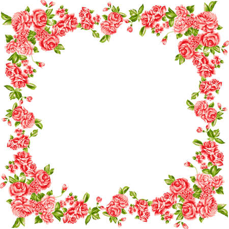 Frame of red roses. Floral design element.  Illustration
