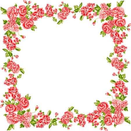 Frame of red roses. Floral design element.  Illustration