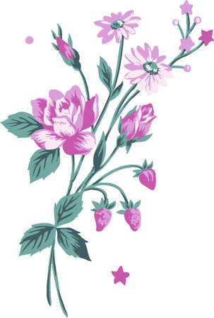 lily leaf: Arrangement of flowers and berries. A design element.