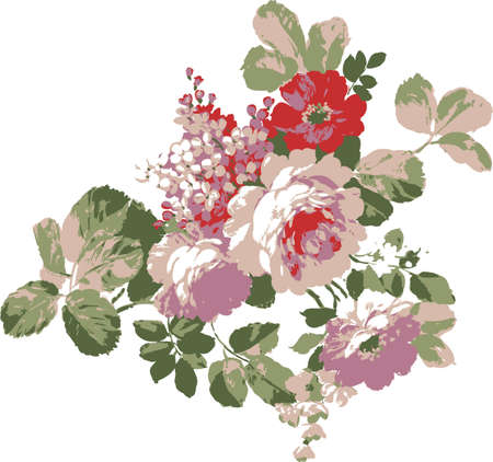 floral fabric: Corner vignette of roses and poppies. Decorative element cards.