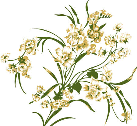 White flowers with greenery. Decorative design element.  Illustration