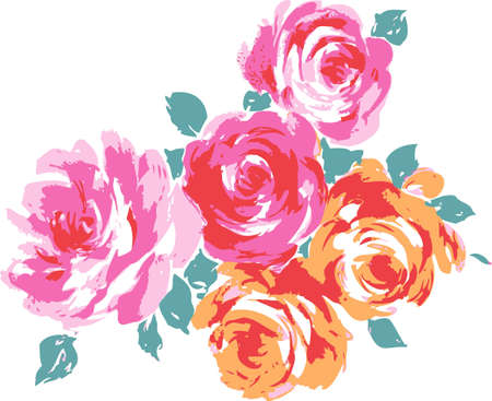 Yellow and pink roses. Flowers for decoration.