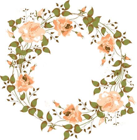 Circular frame of the colors in a retro style. Pink roses for the photos.  Illustration