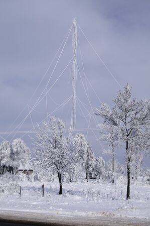 mast: A frosty day, radio mast in hoarfrost Stock Photo