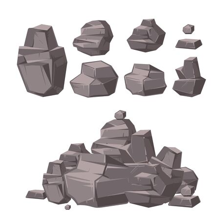 cobble: Cartoon 3d rock, granite stones, stack of boulders vector set, architecture elements for landscaping design