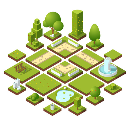 Isometric urban elements and garden decoration. Benches, fountain trees and bushes. Vector illustration set Illustration