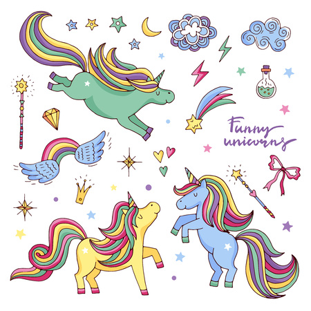 Vector funny set with rainbow, unicorn and other magic attributes. Stars, clouds Imagens - 76175183