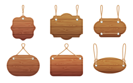 Hanging signs with wood texture isolate on white background. Vector illustration set