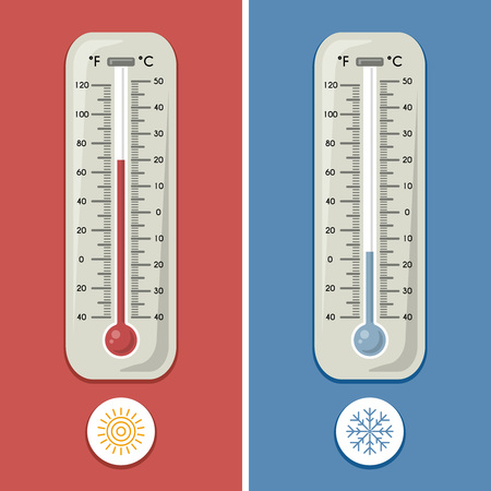 atmospheric: Thermometer of celsius and fahrenheit. Meteorology and different temperature cold and warm. Vector illustrations