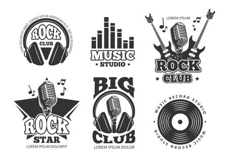 Retro audio record, studio sound vector labels, badges, logos, emblems Illustration