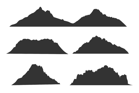 mountaineering: Mountains black silhouettes for outdoor design or travel labels vector set Illustration