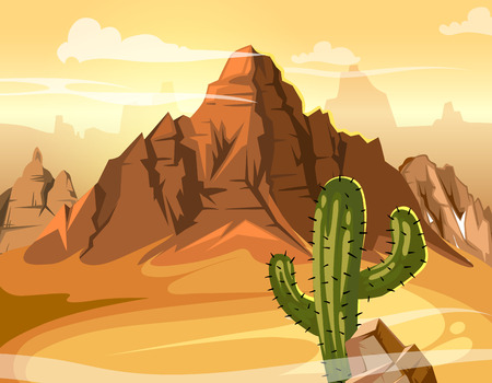 Desert hills, cactus near big mountain. Vector yellow background illustration