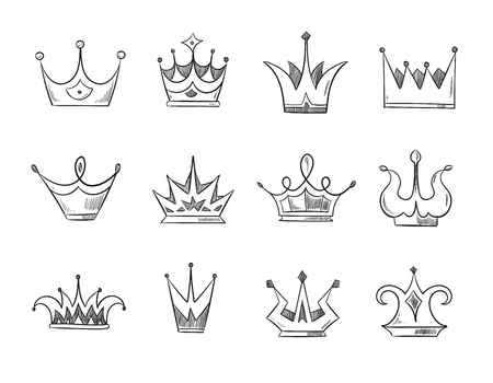 Hand drawn doodle nobility queens crowns vector set