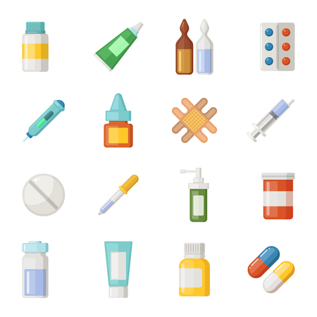 Vector icons set of medications. Drugs and pills isolate on white background