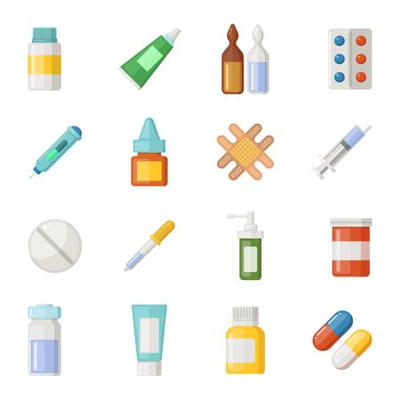 Vector iconen set van medicijnen. Drugs en pillen isoleren op een witte achtergrond