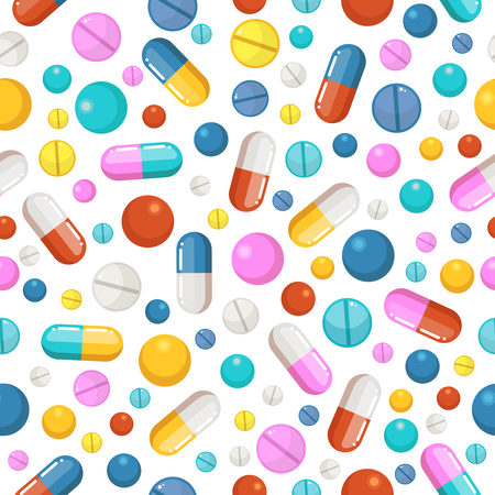ellements: Vector seamless pattern of pills and other pharmaceutical ellements Illustration