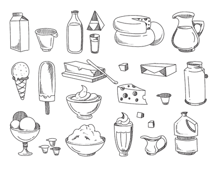 Doodle dairy and milk products. Vector hand drawn icons