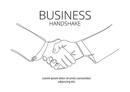 ハンドシェイク実線ベクトル描画します。ビジネス契約のベクトルの概念
