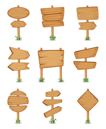 Empty wooden round and square signpost standing in grass. Vector illustration set Illustration