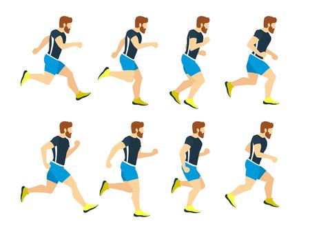 Ejecución hombre joven atleta en chándal. Marcos de animación. Vector deporte ilustraciones aislar en blanco
