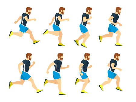 Running man young athlete in tracksuit. Animation frames. Vector sport illustrations isolate on white