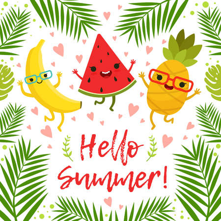 Funny tropical fruits on the summer party. Vector background