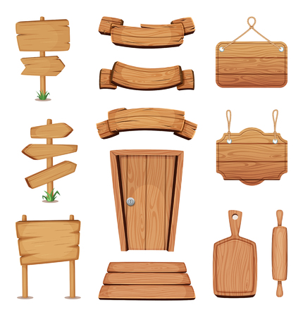 Vector illustration of wooden signboards, doors, plates and other different shapes with wood texture Illustration