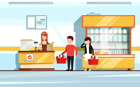 Saleswoman in supermarket interior. People standing in store checkout line. Vector flat illustration of mall Stock Illustratie