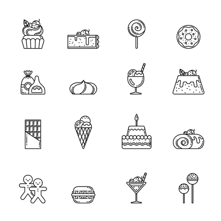 cupcake illustration: Desert vector icon set. Cupcake, sweets and other baking foods. Outline illustrations isolate on white background. Sweet food cupcake with cream, bakery ans sweet cake linear
