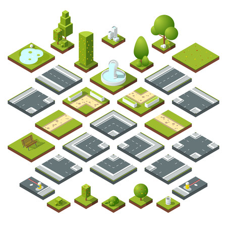 Vector set of isometric city elements, crossroads, road, garden decoration. Benches, fountain trees and bushes