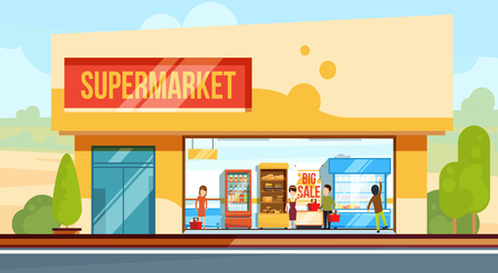 Supermarket in front view with shopping people in checkout line. Seller assistants. Vector illustration in flat style Ilustração