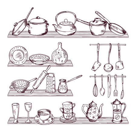 Kitchen wooden shelves with different tools. Hand drawn vector illustration isolate on white background