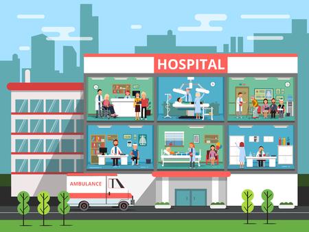Ziekenhuiskamers met medische personnels, artsen en patiënten. Kliniek vectorillustraties bouwen