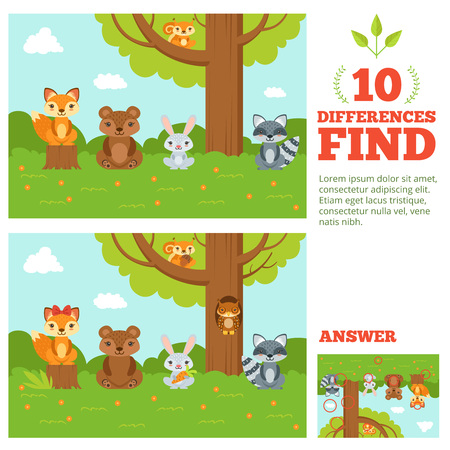 Educational game for kids with funny forest mascots. Vector cartoon illustration with differences elements