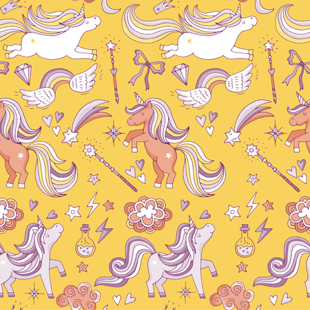 Seamless pattern with funny magic elements. Unicorn, wizard and miracle. Vector background Illustration